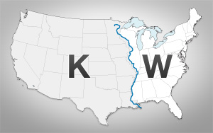 A map showing how radio station call letters are set in the US