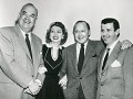 Cast members of the Jack Benny Show: Jack Benny, Dennis Day, Don Wilson and Mary Livingstone