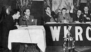 A photo from the set of WKRC's Quiz Bowl, a sports trivia radio program that ran in the 1940s