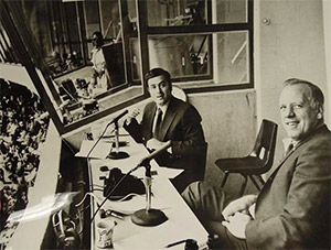 Al Michaels and Joe Nuxhall broadcasting for the Cincinnat Reds