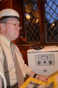 Media Heritage's Mike Martini trying out the 1937 Crosley Xervac