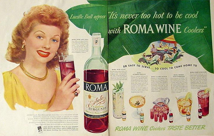 Roma Wine ad featuring Lucille Ball