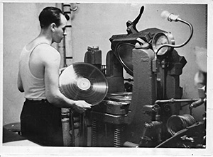 A acetate coated transcription disc getting ready to be pressed